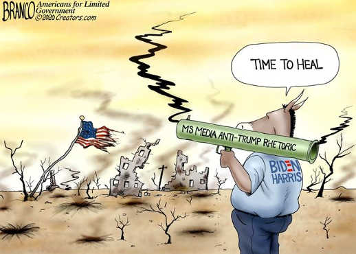time to heal mainstream media anti trump rhetoric biden harris bazooka