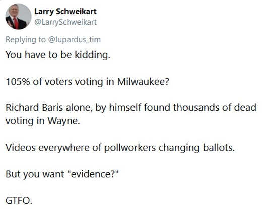 tweet 105 percent voting milwaukee dead voting in wayne pollworkers changing ballots