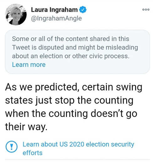 tweet laura ingraham counting stops with swing states dont go their way