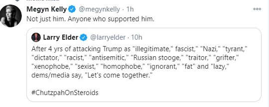 tweet megyn kelly larry elder trump names over years lets come together