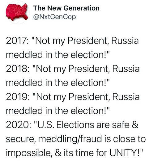 tweet next generation not my president russia us elections safe time for unity