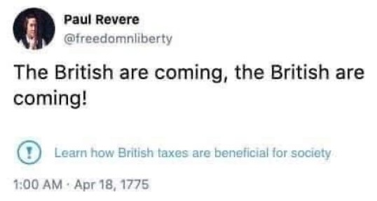 tweet paul revere british are coming facebook taxes beneficial to society