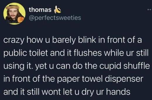 tweet thomas crazy public toilet flush towel dispenser cupid shuffle