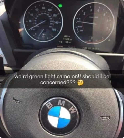 weird green light came on bmw turn signal