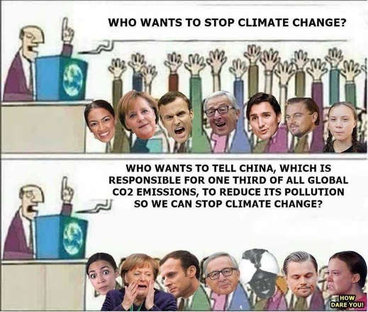 who wants to stop climate change liberals raise hands china 1 3rd emissions