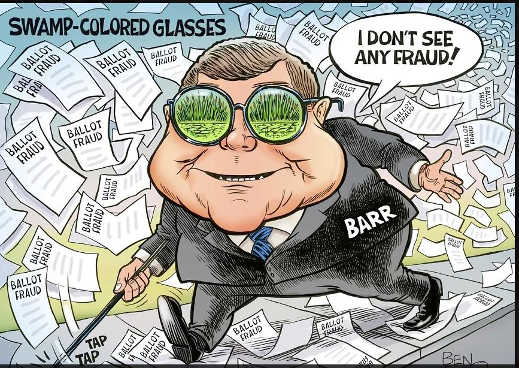 attorney general barr blind cane dont see evidence ballot voter fraud swamp glasses