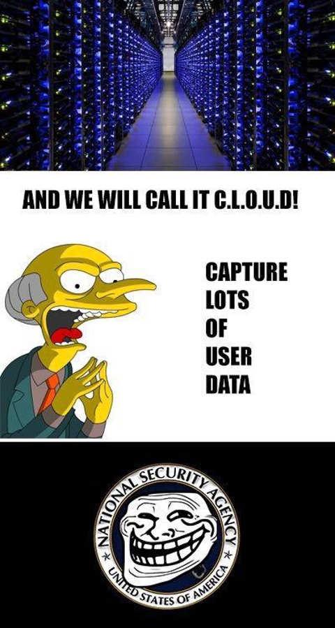 cloud capture lots of user data nsa mr burns
