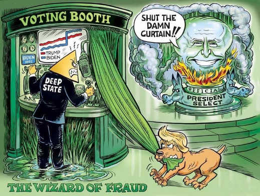 deep state wizard of fraud shut curtain trump dog exposing