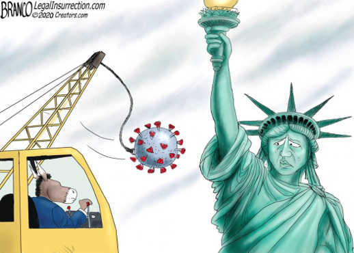 democrats wrecking ball coronavirus covid statue of liberty
