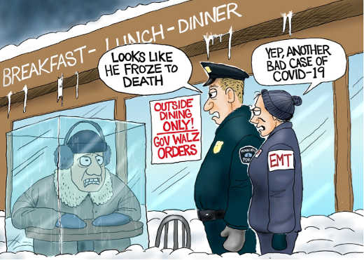 governor walz outdoor dining only froze to death covid
