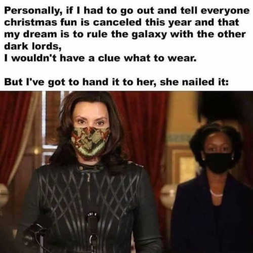 governor whitmer no christmas fun rule galaxy dark lords nailed what to wear