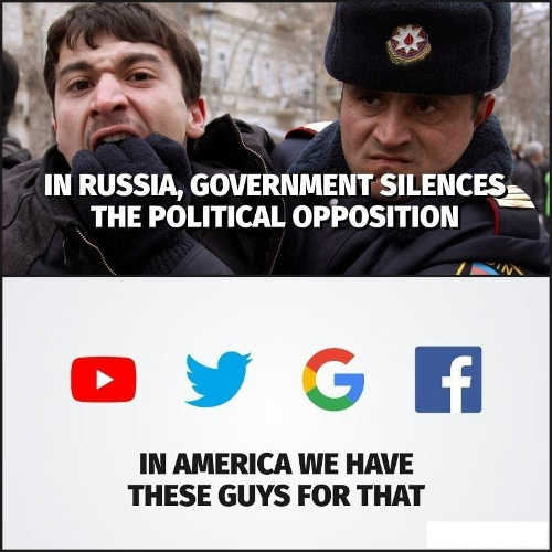 in russia government silences political opposition in usa youtube google facebook twitter censorship