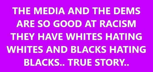 media democrats so good at racism have whites hating whites blacks hating blacks