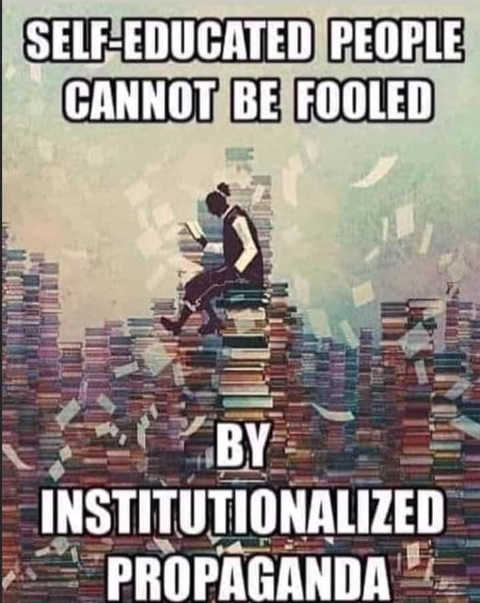message self educated people cant be fooled by institutionalized propaganda