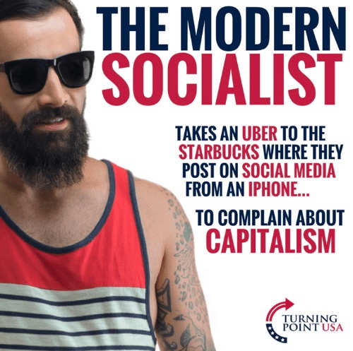 modern socialist uber starbucks social media complain about capitalism