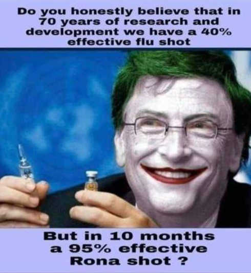 question 70 years research flu shot 40 percent effective covid 10 months 95 percent bill gates clown