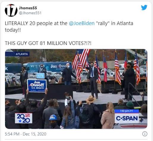 tweet 20 people at joe biden rally but he got 81 million votes