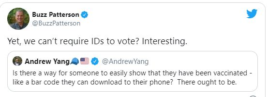 tweet andrew yang bar code show vaccinated yet cant require id to vote