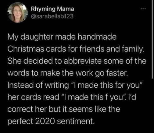 tweet christmas cards daughter mama f you perfect 2020 sentiment