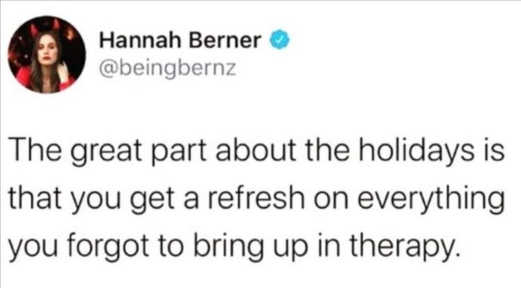 tweet hannah berner holidays refresh therapy