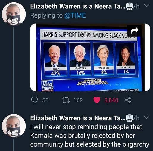 tweet kamala harris rejected by black voters selected by oligarchy