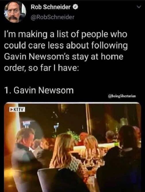 tweet rob schneider list of people doesnt care gavin newsom stay at home order