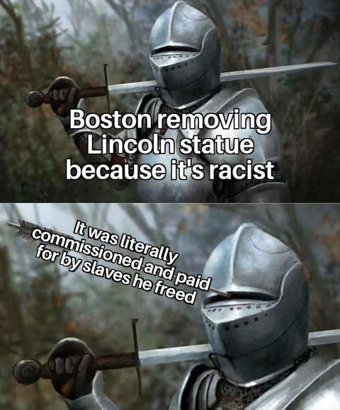 armor boston removing lincoln statue racist former slaves funded