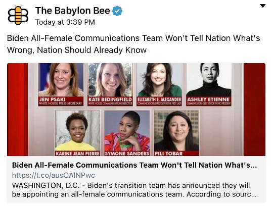 babylon bee biden all female communication team
