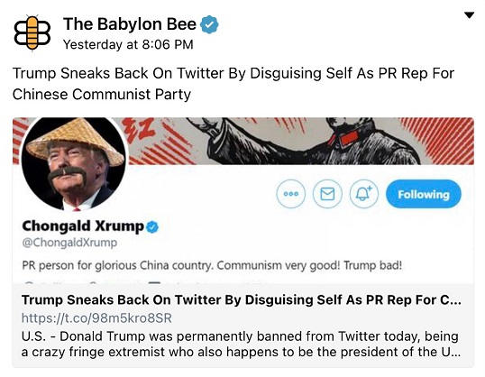 babylon bee trump sneaks back on twitter disguising as pr rep chinese communist party