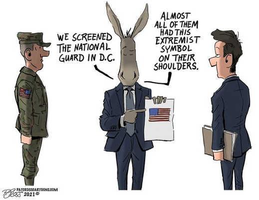 democrats screening national guard had extremist symbol on shoulder us flag