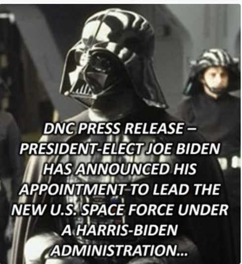 dnc press release darth vader to lead space force biden harris administration
