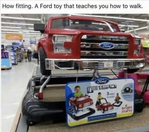 fords kids teaches them to walk truck