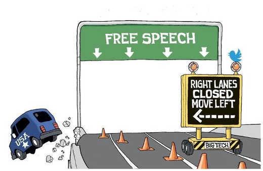 free speech right lanes closed move left big tech