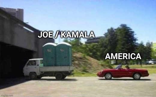 joe biden kamala harris porta potties america car