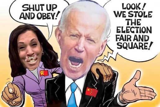 joe biden kamala harris shut up obey stole election fair and square