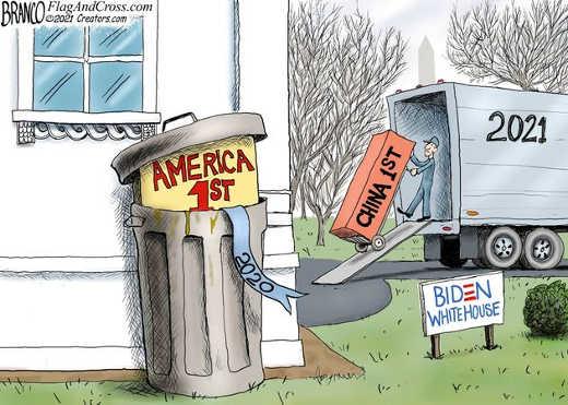 joe biden no america first trash can now china