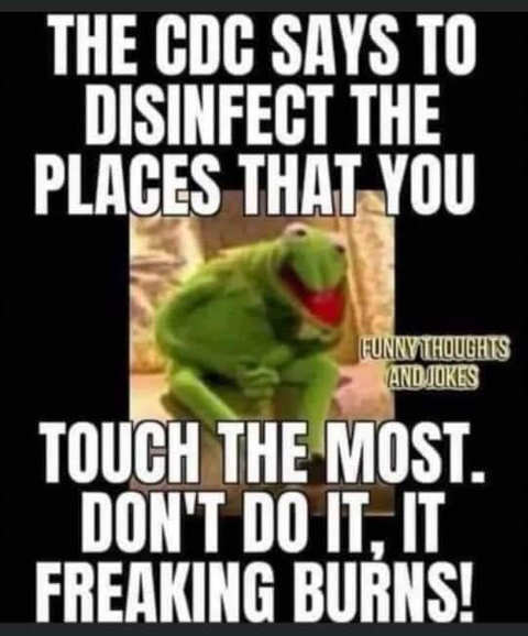 kermit cdc disinfect places touch most dont do it it burns