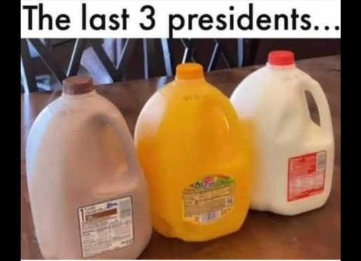 last 3 presidents chocolate white milk orange juice