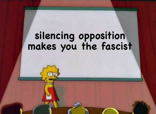 lisa simplson silencing opposition makes you fascist