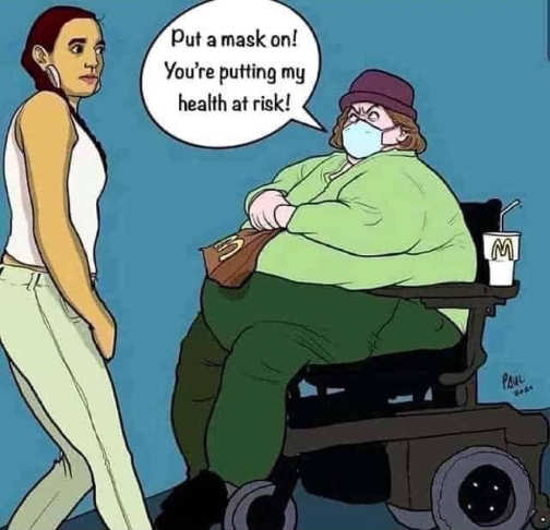 obese woman wheelchair mcdonalds put on mask putting health in danger