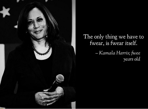 quote kamala harris only thing to fwear fear itself fwee years old