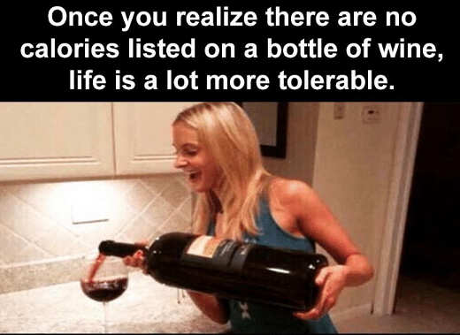 realize life better no calories wine bottle