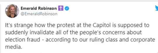 tweet emerald robinson protest at capital suddenly invalidate all election fraud concern