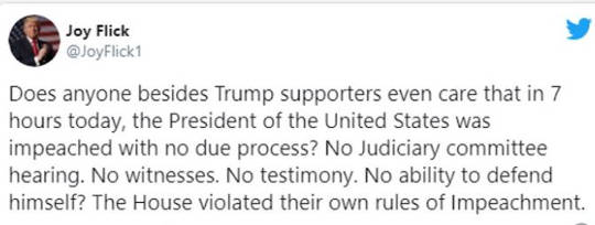 tweet joy flick any care trump impeached no due process