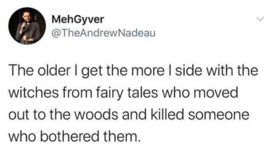 tweet mehgyverolder witches fairy tales kill anyone bothers in woods
