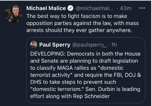 tweet michael malice democrats maga rallies terrorist activity