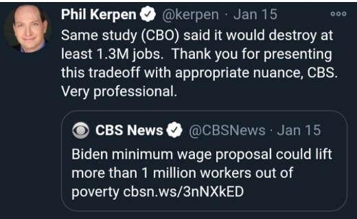 tweet phil kerpen minimum wage tradeoff jobs