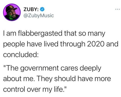 tweet zuby people live through 2020 concluded government cares give more control over life