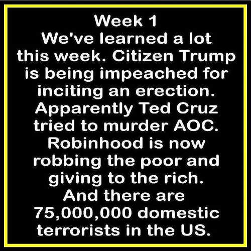 week 1 robinhood 75 million domestic terrorists citizen trump ted cruz murder aoc