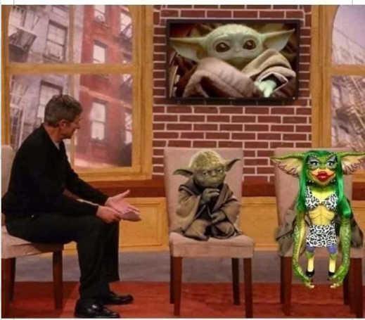 yoda gremlin baby grogu talk show